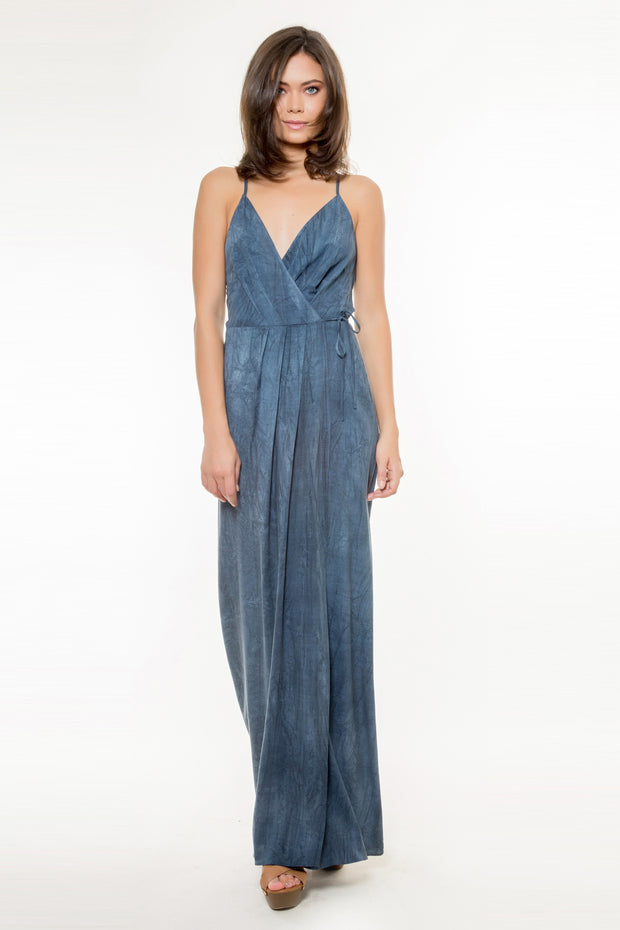 Navy Tie Waist Wrap Maxi Dress by Lavender Brown 001