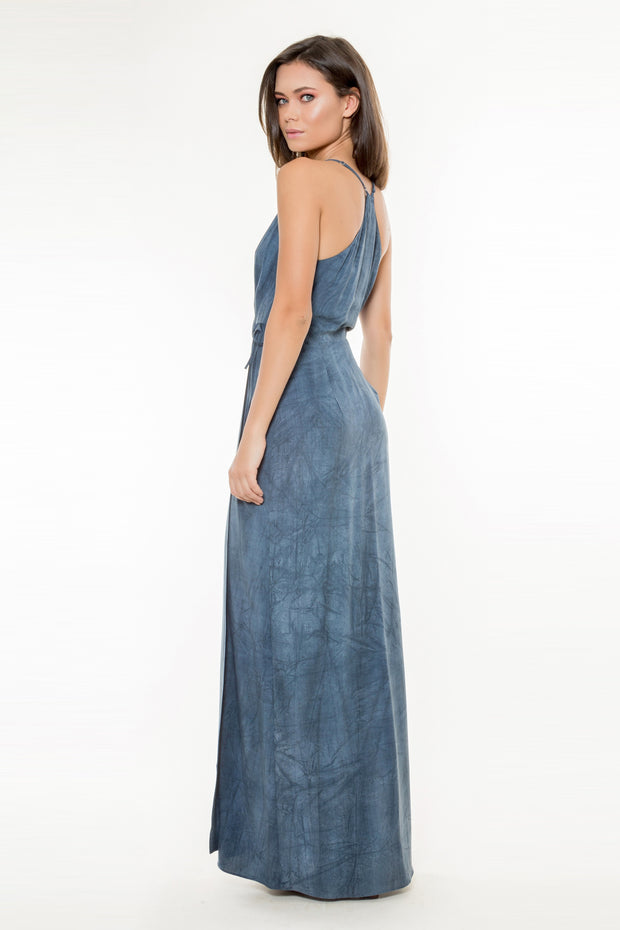 Navy Tie Waist Wrap Maxi Dress by Lavender Brown 002