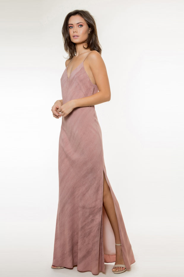 Light Burgundy Backless Maxi Dress by Lavender Brown 001