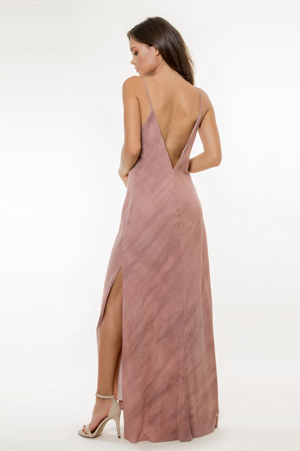 Light Burgundy Backless Maxi Dress by Lavender Brown 002