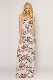 Ivory Floral Wrap Maxi Tank Dress by Lavender Brown 001