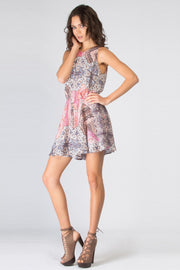 Pink Sleeveless Printed Romper by Lavender Brown 001