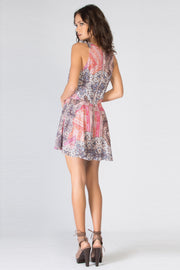Pink Sleeveless Printed Romper by Lavender Brown 002