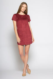 Burgundy Short Sleeve Jewel Neck Suede Dress by Lavender Brown 001