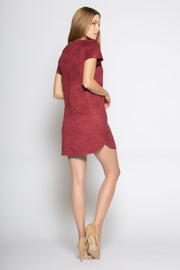 Burgundy Short Sleeve Jewel Neck Suede Dress by Lavender Brown 002