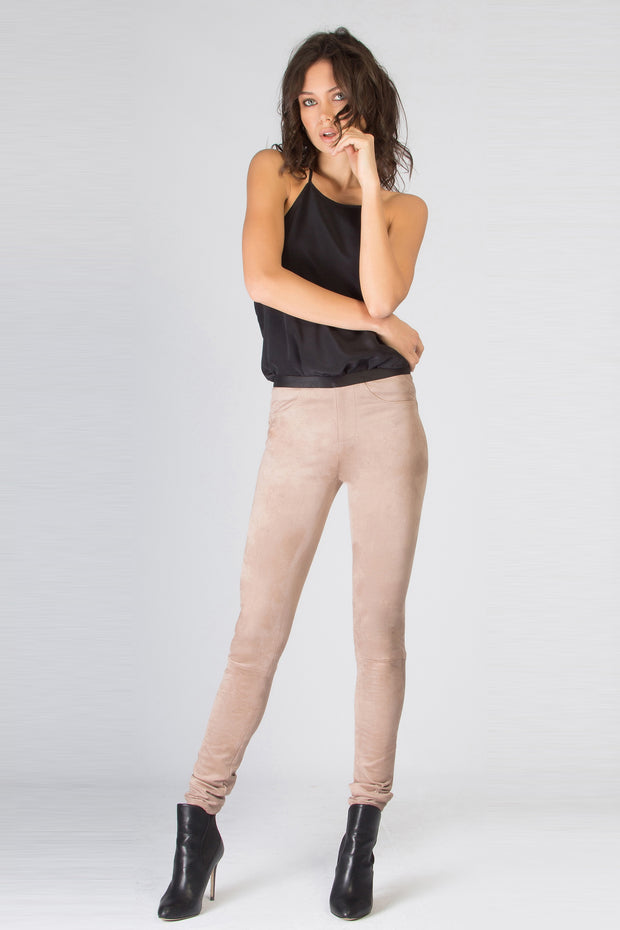Beige Vegan Suede Skinny Pants by Lavender Brown 001