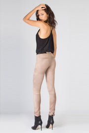 Beige Vegan Suede Skinny Pants by Lavender Brown 002