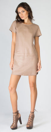 Beige Short Sleeve Snakeskin Vegan Suede Dress by Lavender Brown - 1