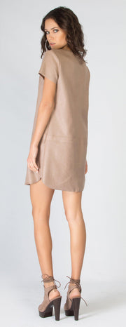 Beige Short Sleeve Snakeskin Vegan Suede Dress by Lavender Brown - 2