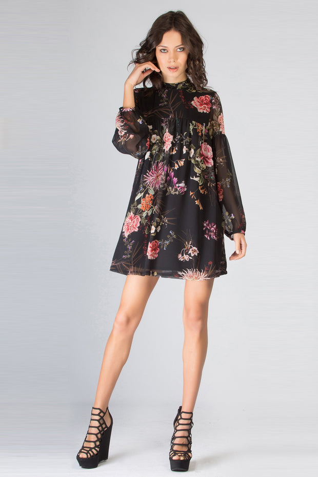 Black Long Sleeve High Neck Floral Dress by Lavender Brown 001