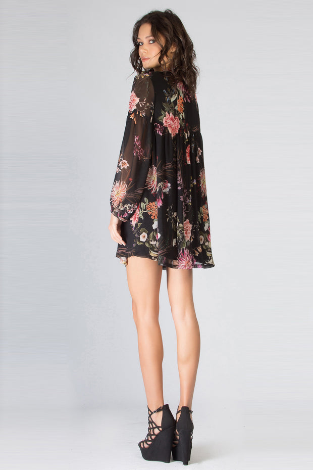 Black Long Sleeve High Neck Floral Dress by Lavender Brown 002
