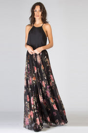 Black Floral Pleated Maxi Skirt by Lavender Brown 001