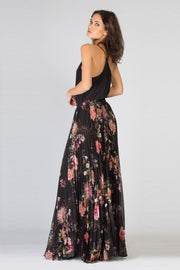 Black Floral Pleated Maxi Skirt by Lavender Brown 002