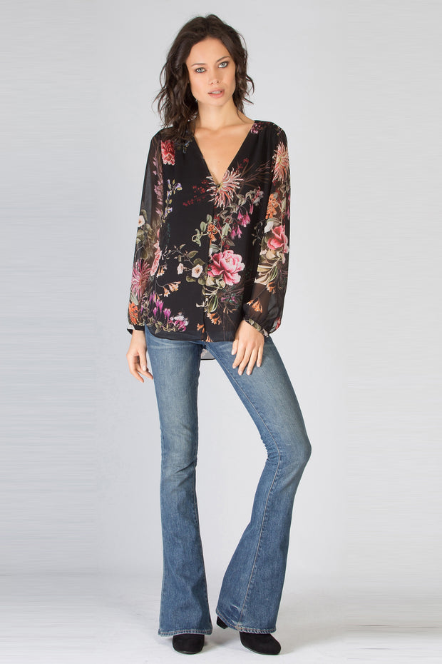 Black Long Sleeve Floral Blouse by Lavender Brown 001