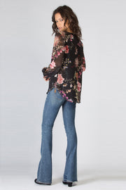 Black Long Sleeve Floral Blouse by Lavender Brown 002