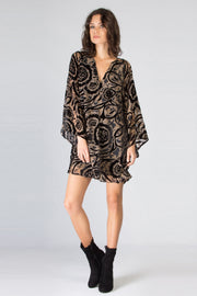 Black Bell Sleeve Floral Velvet Shift Dress by Lavender Brown 001