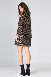 Black Bell Sleeve Floral Velvet Shift Dress by Lavender Brown 002