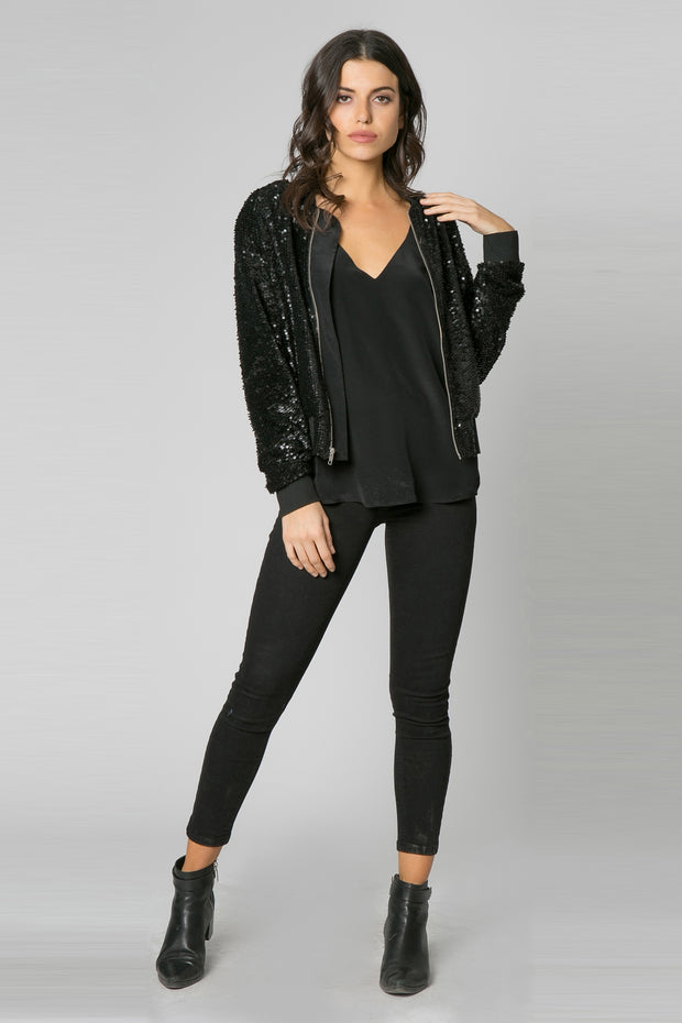 Black Velour Knit Sequin Blouson Jacket by Lavender Brown 001