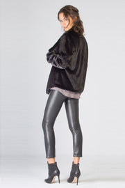 Black Tricot Fur Jacket by Lavender Brown 002