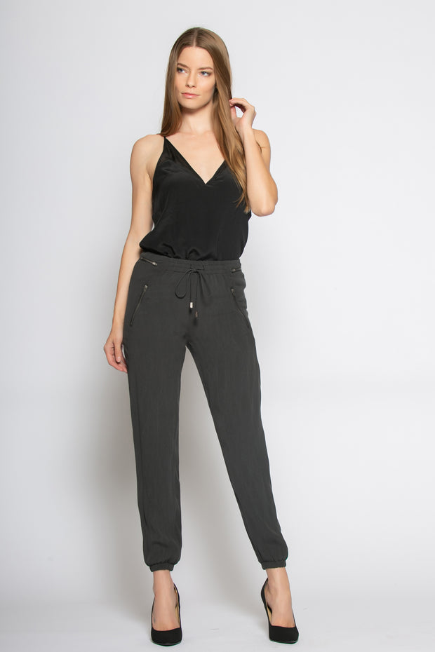 Black Tie Waist Skinny Pants by Lavender Brown 001