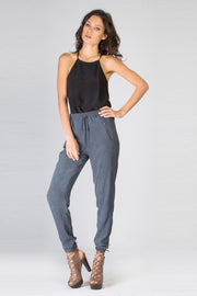 Navy Tie Waist Skinny Pants by Lavender Brown 001
