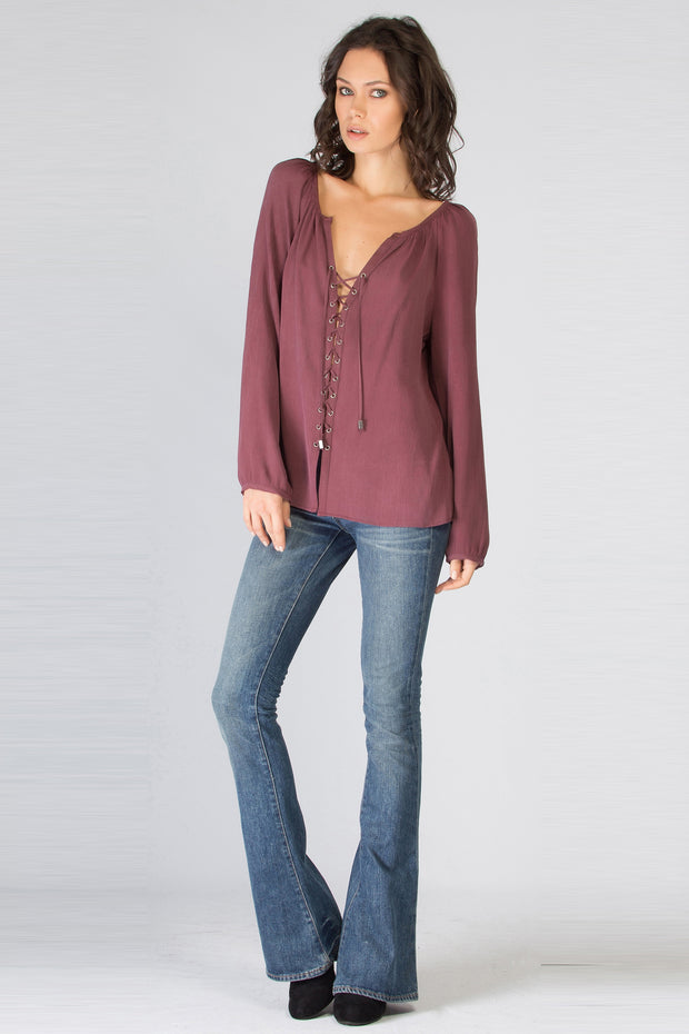 Burgundy Long Sleeve Lace-Up Blouse by Lavender Brown 001