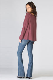 Burgundy Long Sleeve Lace-Up Blouse by Lavender Brown 002