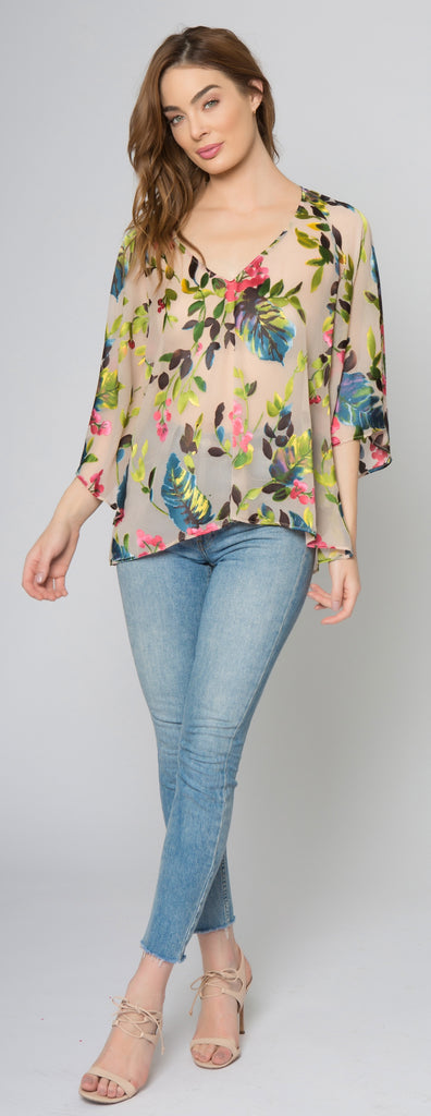 Taupe Elbow Sleeve Floral Burnout Top by Lavender Brown 001