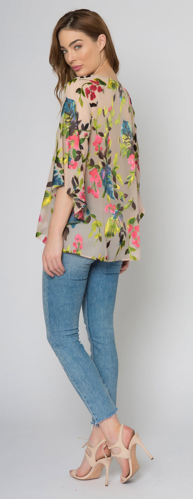 Taupe Elbow Sleeve Floral Burnout Top by Lavender Brown 002