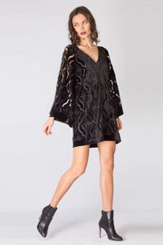 Black Bell Sleeve Velvet Lace Dress by Lavender Brown 001