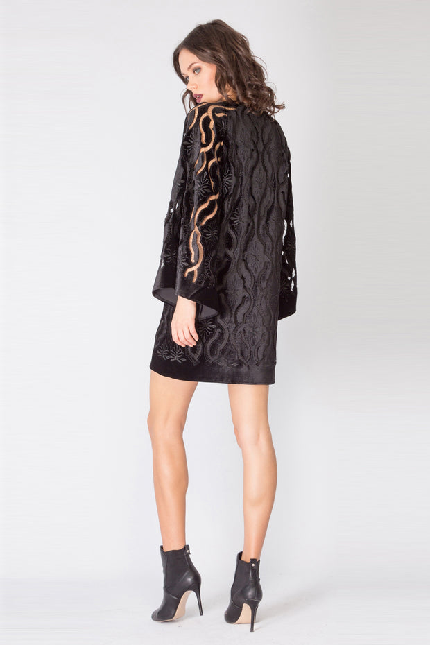 Black Bell Sleeve Velvet Lace Dress by Lavender Brown 002