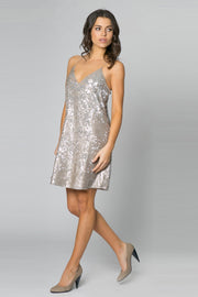 Gold Racerback Sequin A-LineTa nk Dress by Lavender Brown 001