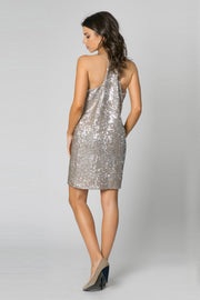 Gold Racerback Sequin A-LineTa nk Dress by Lavender Brown 002