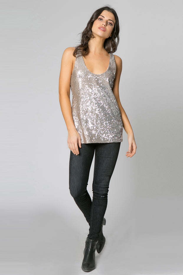 Gold Open Back Sequin Tank Top by Lavender Brown 001