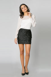Black Teardrop Payette Mini Skirt by Lavender Brown 001