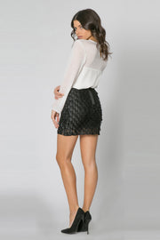 Black Teardrop Payette Mini Skirt by Lavender Brown 002