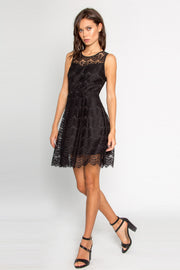 Black Illusion Neck Eyelash Lace Dress by Lavender Brown 001