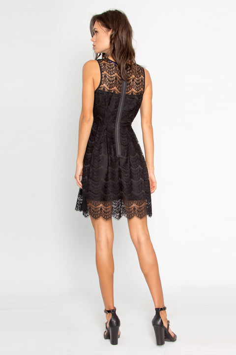 Black Illusion Neck Eyelash Lace Dress by Lavender Brown 002