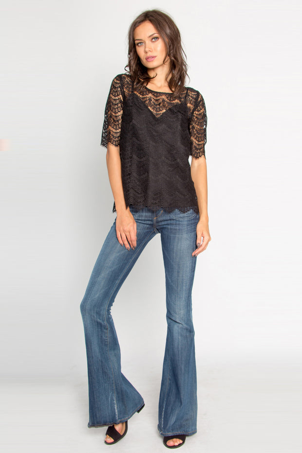 Black Short Sleeve Eyelash Lace Top by Lavender Brown 001