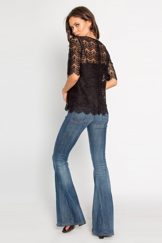 Black Short Sleeve Eyelash Lace Top by Lavender Brown 002