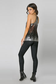Brown Racerback Sequin Cami Tank Top by Lavender Brown 002