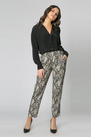 Black Snakeskin Peg Pants by Lavender Brown 001