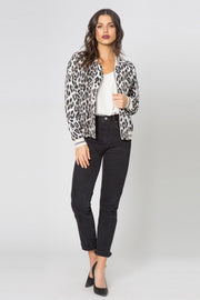 Snow Leopard Blouson Jacket by Lavender Brown 001
