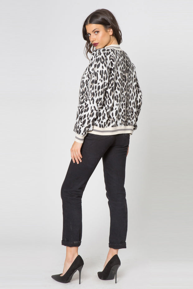 Snow Leopard Blouson Jacket by Lavender Brown 002