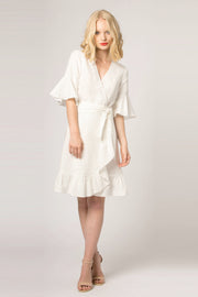 Ivory Empire Waist Wrap Dress by Lavender Brown 001
