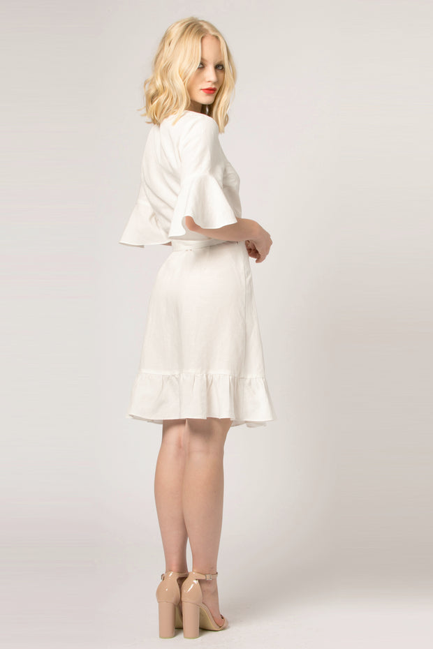 Ivory Empire Waist Wrap Dress by Lavender Brown 002