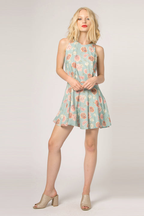 Sage Sleeveless Floral Flared Romper by Lavender Brown 001