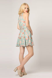 Sage Sleeveless Floral Flared Romper by Lavender Brown 002