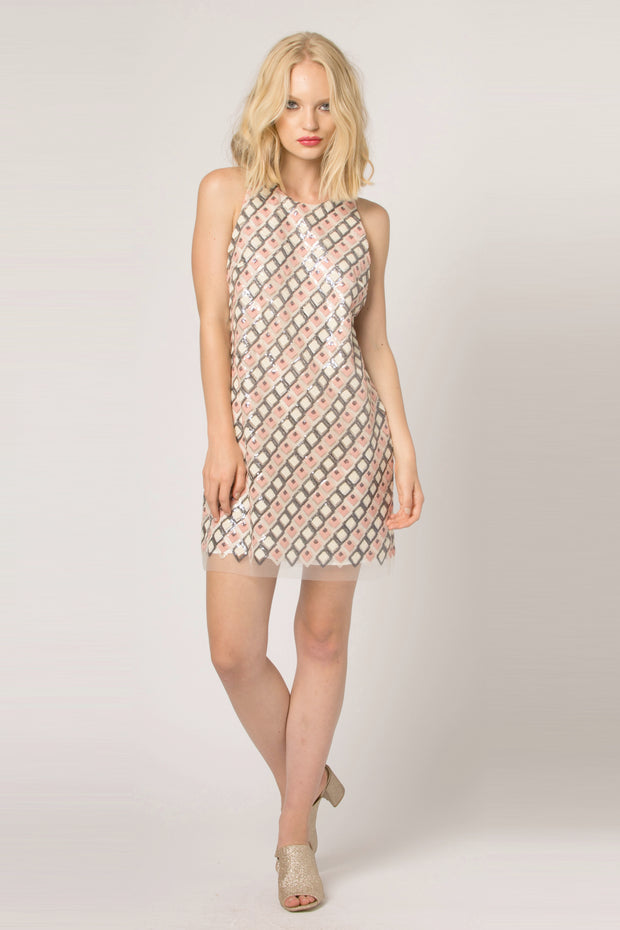 Pink Sleeveless Mesh Jacquard Shift Dress by Lavender Brown 001