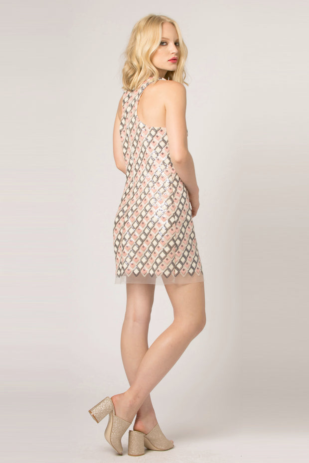 Pink Sleeveless Mesh Jacquard Shift Dress by Lavender Brown 002